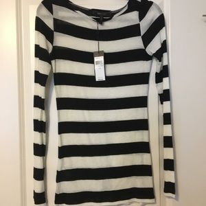BCBGMaxAzria sheer black and white long sleeve top